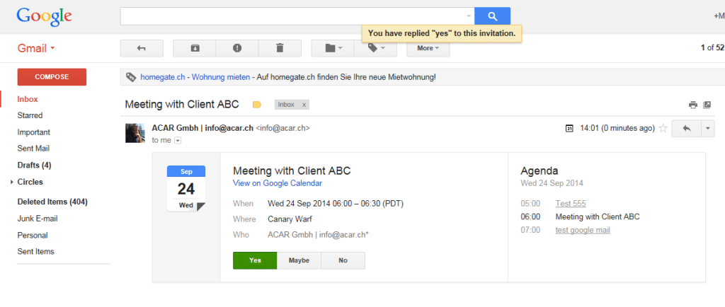 Google_Gmail_Guest_replies_yes room manager google calendar integration room manager,Google Calendar Event Invite