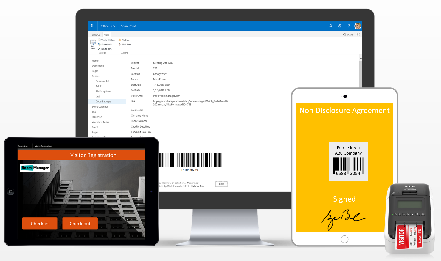 Visitor Management Solution with Room Manager for SharePoint