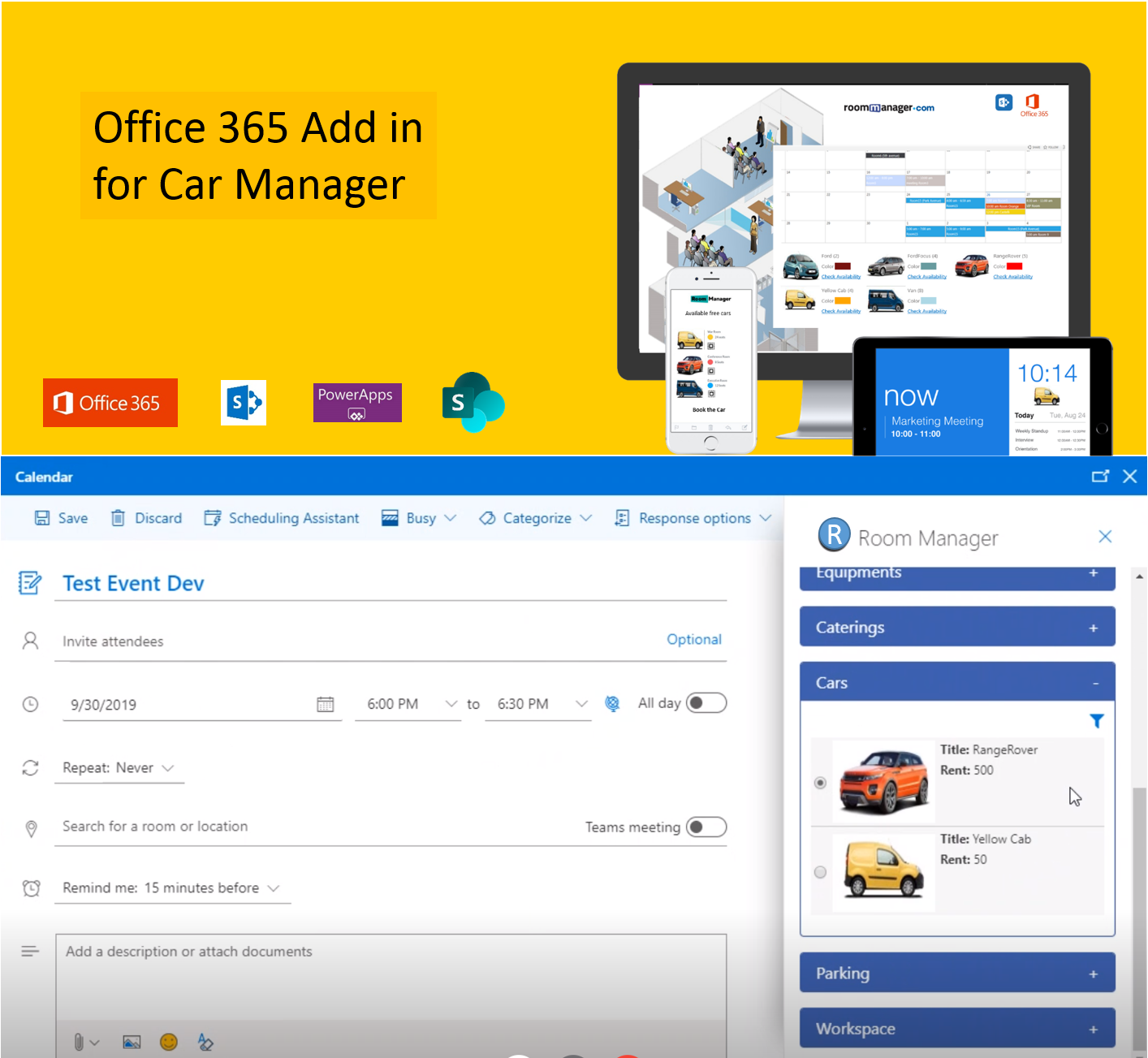 Office 365 Add In Car Manager