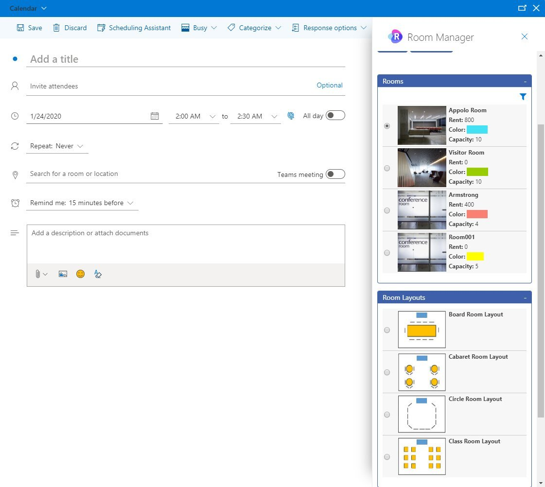 OAI in Outlook Office 365 calendar Room Manager